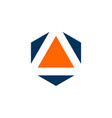triangle inside hexagon shape logo template vector image vector image