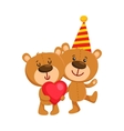 Two cute teddy bear characters birthday party vector image vector image