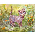 watercolor of gray little cat vector image vector image