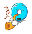 with trumpet cartoon the number zero color blue vector image