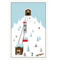 Cool pastel Cartoon ski poster The mountain vector image