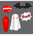 set of cartoon objects for Halloween vector image