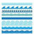 Waves flat style seamless icons collection vector image