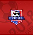 2018 football cup logo football ball on flag vector image vector image