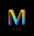 3d iridescent gradient letter m vector image vector image