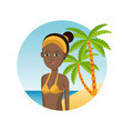 afro woman travel tourist vacation palm sand beach vector image vector image
