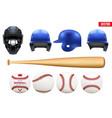 big set baseball equipment vector image vector image