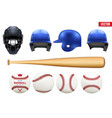 big set of baseball equipment vector image vector image
