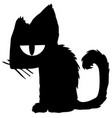 bored cat silhouette cartoon vector image vector image