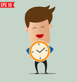 Business man holding clock - - EPS10 vector image vector image
