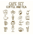 Cafe doodle set coffee and tea Morning breakfast vector image