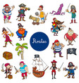 cartoon pirates fantasy characters set vector image