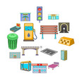 city infrastructure icons set cartoon style vector image vector image