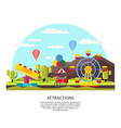 colorful amusement park template vector image
