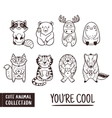 Cute animal set with cartoon characters Outline vector image