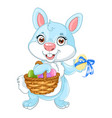 cute easter bunny with basket eggs vector image vector image