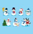 cute snowman cartoon winter christmas character vector image