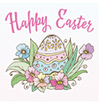 doodle spring egg easter in the grass with flowers vector image