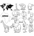 educational african animals color book page vector image vector image