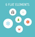 flat icons beauty insect winter snow tree and vector image vector image
