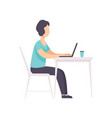 freelancer working at the table with laptop vector image