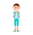 funny schoolboy with big backpack and broad smile vector image