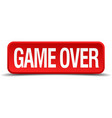 game over red 3d square button on white background vector image vector image