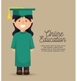girl student education online graduation vector image