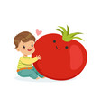 happy boy having fun with fresh smiling tomato vector image vector image