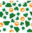 happy st patrick s day seamless pattern mug of vector image vector image