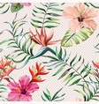 Hibiscus strelizia leaves seamless pattern