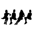 isolated silhouette sitting girl collection vector image vector image