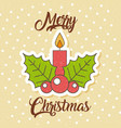 merry christmas candle flame holly berry vector image