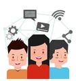 people characters smartphone vector image