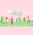 people in spring park in different situations vector image