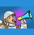 pop art background woman with megaphone vector image vector image