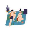 relaxing people sunbathing couple on beach young vector image