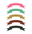 Retro color ribbon banner set on white background vector image vector image