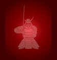 samurai standing front view ready to fight vector image