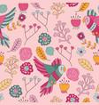seamless pattern bird pink floral wallpaper decora vector image