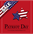 sign patriot day on red background vector image vector image