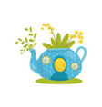 small house made from blue teapot fairytale vector image vector image