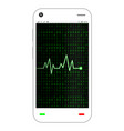 smartphone with green heart rate on screen vector image