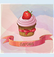 strawberry cupcake dessert icon cartoon vector image