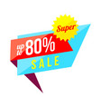 up to 80 percent sale banner on white background vector image vector image