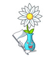 with flag mascot beautiful flower in vase cartoon vector image
