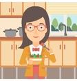 Woman eating salad vector image vector image