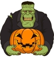 Zombie with pumpkin vector image vector image