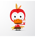 Funny Red Bird Icon vector image