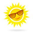 cheerful smiling cartoon sun in sunglasses on vector image